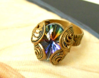 SALE! Vintage W Germany Filigree & Rainbow Sunburst Adjustable Ring - size 7, Brass Filigree Ring, Rainbow Glass, Bright, Colorful