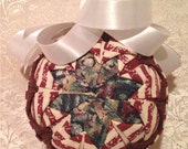 Quilted Star Handmade Christmas Ornament- Burgundy and White
