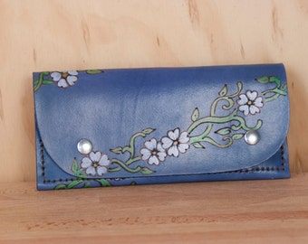 Leather Wristlet Wallet - Womens Large Wallet with Wrist Strap - Willow pattern in blue with flowers and vines - Fits iPhone 6+