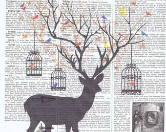 Deer,Bird.birdcage.collage.Fantasy. Antique Book Pages Print,handmade gift.home decor,vintage,retro.french.mixed media.art.mom.dad.child.eco