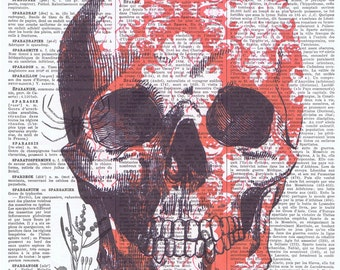 Red damask.Skull.skeleton.catrina.Gift,French.Antique Book Page Print,buy 3 get 1 free.deco.steampunk.goth.day of dead.dia de los meurtos