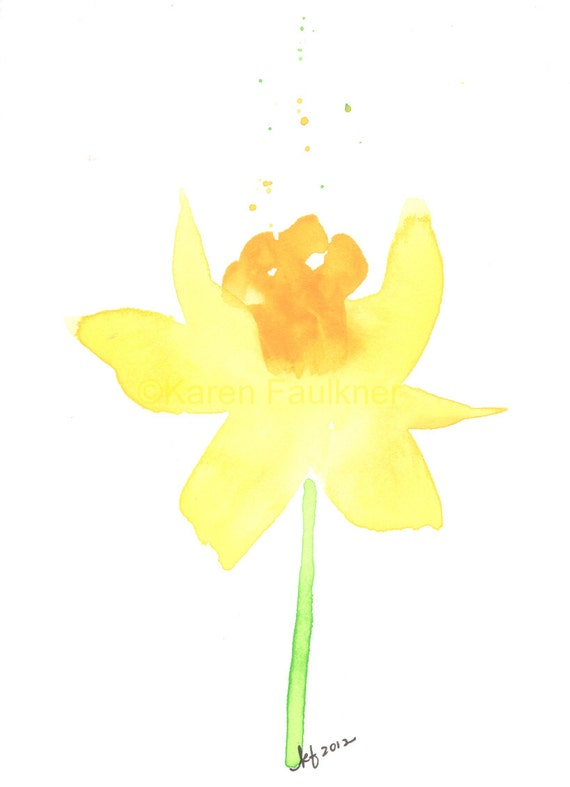 "Watercolor flower art print of a yellow daffodil:  ""Daffodil"""