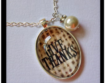 Give Thanks pendant...altered art pendants, gift boxed with chain and READY to SHIP, Thanksgiving pendants, burlap, holiday pendants