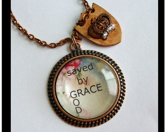 Saved by Grace, pendant...gift boxed and READY to SHIP, religious pendants, original art pendant,christian jewelry, religious,photo pendants