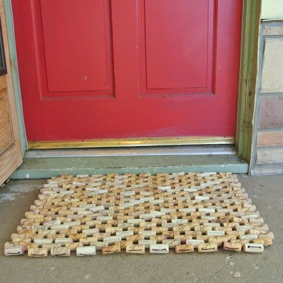 Doormat made from Recycled Wine Corks