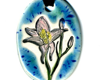 Lily Ceramic Necklace in Spotted Blue Green