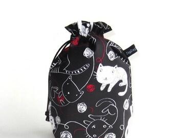 Drawstring Bag, Padded Knitting Project Bag - Kitties and Yarn on black