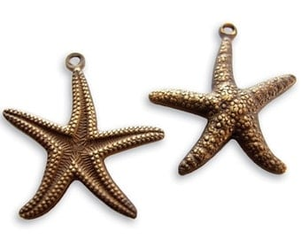 Vintaj Natural Brass Starfish Double Sided Charms 20x23mm (DP90) Select QUANTITY for additional savings