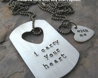 I carry your heart Necklace Set, aluminum dog tag, heart cut out, gunmetal chain, customize with your details, read listing for specs