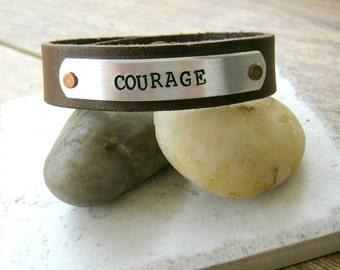 Courage Bracelet, Leather Cuff, Courage Cuff Bracelet, power phrase bracelet, courageous, brave, men's bracelet, men's jewelry, masculine