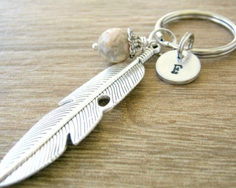 Personalized Feather Keychain, optional initial disc, choose bead color, bulk pricing, feather keyring, feather gift, stocking stuffers