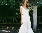 Silk Chiffon, Drop-waist wedding gown with straps- Eden