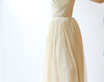 Silk Chiffon Wedding Gown with Silk Bodice Detail and beaded French Lace--Sample sale--Size 4