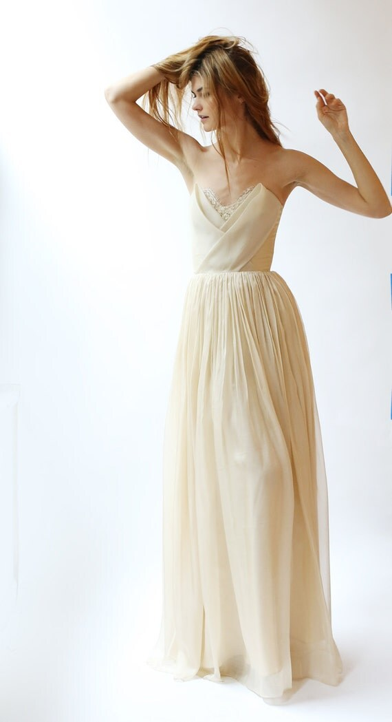 Silk Chiffon Wedding Gown With Silk Bodice Detail And Beaded