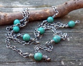 Green Turquoise Necklace .... oxidized sterling silver 4mm green turquoise wire wrapped layer necklace