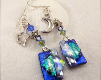 Blue dichroic earrings, star and moon earrings, glass fusion jewelry, dichroic earrings, jewelry, what's trending now in jewelry,mod jewelry