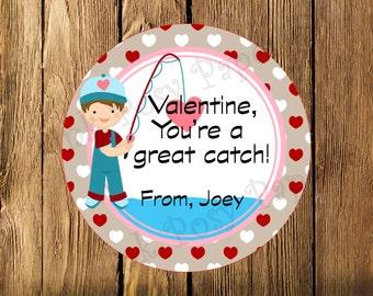 Printable Valentine Fishing Gift Tags