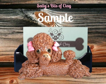 Chocolate Poodle dog with bows Business Card /Cell Phone / Iphone Holder OOAK sculpture by Sally's Bits of Clay