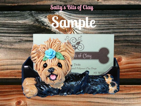 Tan and Black Yorkie Yorkshire Terrier Rose in Topknot dog Business Card / cell phone / iphone Holder OOAK sculpture Sally's Bits of Clay
