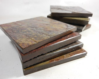 8 POLISHED SLATE COASTERS, Assorted, Varnished to Enhance Colors, Natural Stone Coasters, Coasters for Drinks, Coasters Nature, Do Not Stick