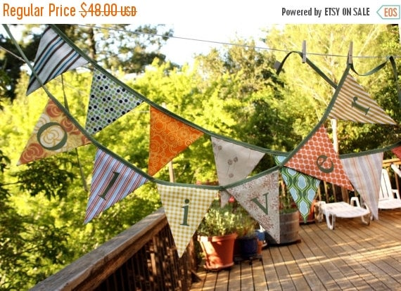 STOREWIDE 15% OFF Custom Personalized Banner. Fabric Bunting, 5 Flags, Includes 5 Letters...