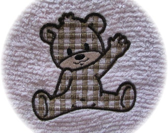 Custom Embroidery Gingham Bear Chenille Bedspread Patchwork Quilt Squares Done as You Like