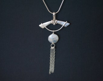Kimono Sterling silver white pearl pendant hand crafted necklace