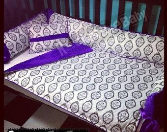 SUPER SALE CUSTOM Rare Nightmare Before Christmas Jack baby 3 piece crib bedding set  guitar girl boy unisex in choose your minky