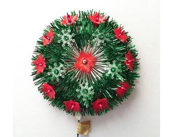 1970s Christmas Light Wreath - Poinsettia