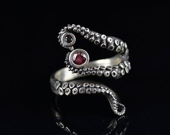 VDay SALE SALE - Wicked Tentacle Ring with Ruby and Black Diamond, Wedding Band, Engagement Ring, Occasion