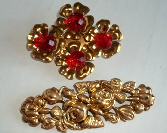 2 Gold tone Rose Pin ,Brooch , Rhinestone Dogwood c clasp ,Two Vintage  Floral Brooches lot ,wear or destash