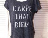 super soft thin heathered blue CARPE THAT DIEM backless comfy t shirt