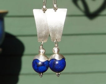Lapis Lazuli Sterling Silver Trapezoid Earrings