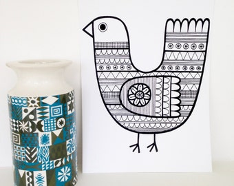 New Black Scandi  screen print by Jane Foster  - hand printed signed LIMITED EDITION