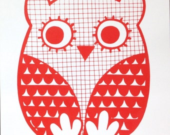 Hand Pulled Happy Owl Screen Print by Jane Foster Scandinavian Style