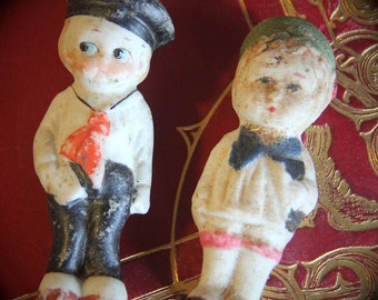 Antique Vintage Bisque Kewpie Dolls Set of Two - A Sailor Suit Boy and A Girl with a Big Blue Bow