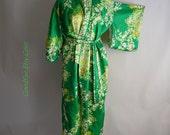 Vintage Floral Kimono Robe JAPAN 1980s Medium Floor Length Green Yellow