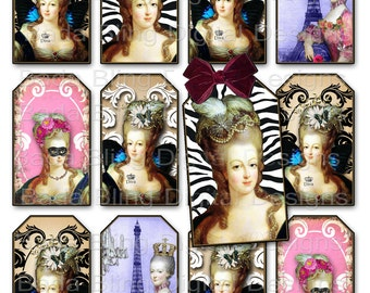 Marie Antoinette, gift tags, tag collage sheets, INSTANT  Download at Checkout, 3 x 2 tags, fairies, Marie Antoinette, Paris, wings, crowns