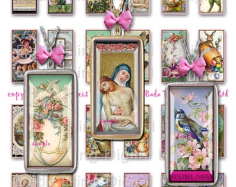 Joyeuses Paques, Happy Easter, 23mm x 48mm  images.. sized to fit  1 x 2 pendants, INSTANT Digital Download,French Easter,Easter pendants
