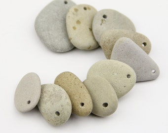 Stone beads - Drilled river stones - Alaska river stones - Natural jewelry supplies - Found items - Rocks beads -Tan stones - Pastel stones