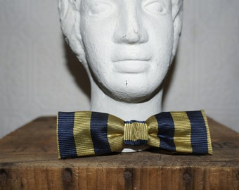 vintage  bow tie  olive green and navy blue clip on bow tie