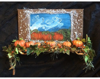 Halloween decoration original art print shabby chic wall hanging decor mixed media collage pumpkin patch ghost