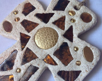 Inspirational Mosaic Cross in Brown and Gold