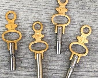 Brass Pocket Watch KEY *BULK DISCOUNT* Fancy 2 tone Gold & nickel silver key charm/ industrial chic/ steampunk pendant/ key to my heart m58