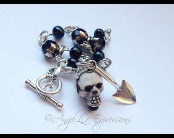 Gravedigger Beaded Chain Bracelet with Skull and Cemetery Shovel in Black and Silver OOAK