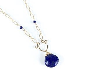 Liliana - Delicate Lapis Lazuli Necklace || Lapis Lazuli Gold Necklace || Lapis and Gold Dainty Necklace
