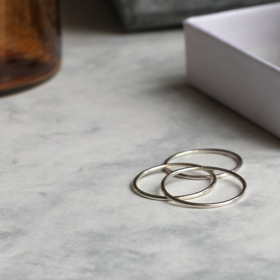 Set of Three Skinny Stacking Rings - Sterling Silver | Hammered rings | Gift for her | 30th birthday gift | Trio of rings | Silver gifts