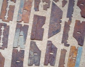 Rusty Razor Blades Metal Bits Findings Parts Found Object - Altered Art Sculpture Supplies Assemblage- Industrial Salvage