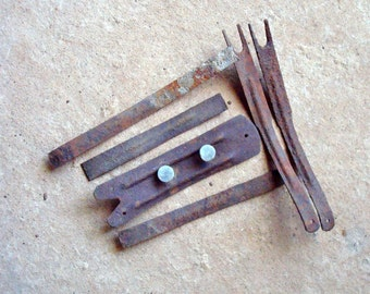 Rusty Straight Strips Shoe Arches with Holes Found Objects for Assemblage, Altered Art or Sculpture - Industrial Salvage