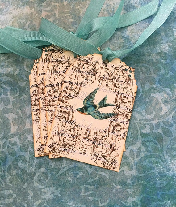 Bird Tags - French Bird Tags -Vintage BlueBird Tags - Aqua, Turquoise, Swallow - Set of 4